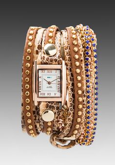 LA MER Roman Sapphire Crystal Wrap Watch in Tan Snake/Gold at Revolve Clothing - Free Shipping!