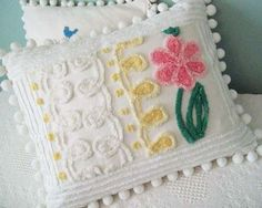 Beautiful Decorative throw Pillow cover Made From Vintage Chenille