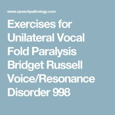 Exercises for Unilateral Vocal Fold Paralysis Bridget Russell Voice/Resonance Disorder 998