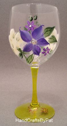 Glassware - Wine Glass: Ah-h Spring - Unique Gifts - HandCraftsByPat
