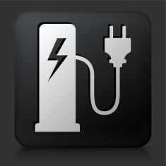 Black Square Button with Electric Plug Station Icon vector art illustration