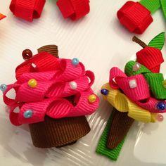 Tiny cupcake and icecream hair bows
