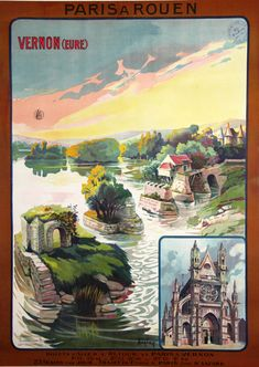 Vintage Railway Travel Poster - Vernon - Paris Rouen - France - by Auglay - 1920.