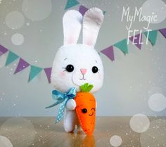 Super cute Easter bunny with carrot Easter ornament by MyMagicFelt