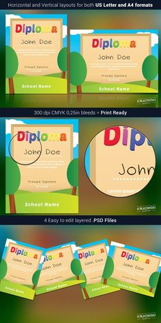 Kids School Diploma Template. Stationery Templates. $6.00