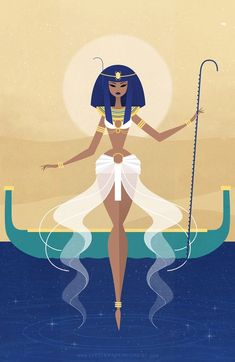 """Starting 2016 off with an Egyptian creation goddess! ♡ Nun (Nu), or Nunet as the female aspect, meaning """"abyss"""" and represents the primordial waters. The Ancient Egyptian creation myth accounts for the first mass of land coming forth from the chaotic. Egyptian Mythology, Egyptian Art, Egyptian Goddess, Egyptian Queen, Egyptian Drawings, Egyptian Beauty, Egyptian Jewelry, Illustrations, Illustration Art"""