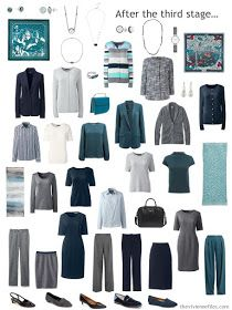 a 23 piece work wardrobe in navy grey and shades of green mode femme