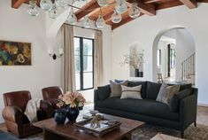 Martin Construction along with Amber Interiors renovated this gorgeous Spanish Revival home in the Pacific Palisades, California. Spanish Revival Home, Spanish Style Homes, Spanish House, Spanish Colonial, Living Room Decor, Living Spaces, Living Rooms, Hacienda Style, Mediterranean Home Decor
