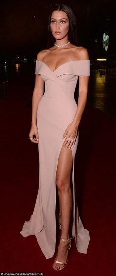 dde17ed114 Ashley Graham and Bella Hadid stun at the GQ Men Of The Year Awards. Off  Shoulder Dresses PromSlit ...