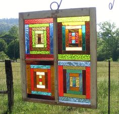 Stained Glass Window LOG CABIN QUILT Pattern by ChorvalCottage