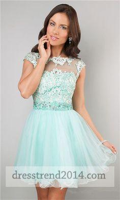 Aqua High Neck Short Lace Prom Dresses 2014