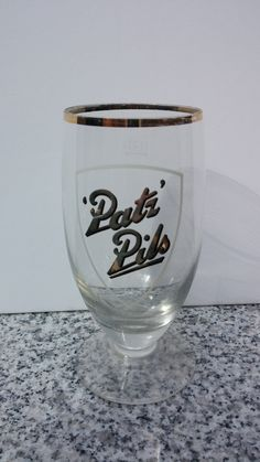 German Patz Pils Bier Beer Footed 0.2l Pilsner Glass by CobaltGlassVault on Etsy