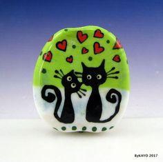 """LOVE IS IN THE AIR"" byKAYO a Handmade CAT Lampwork Art Glass Focal Bead SRA #Lampwork"