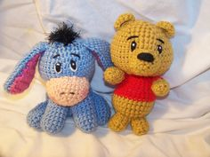 Crochet Winnie The Pooh and Eeyore friends rattle toys I have 1 set ready to ship by EEKsCreations on Etsy https://www.etsy.com/listing/216724495/crochet-winnie-the-pooh-and-eeyore