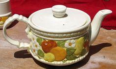 Amazing Vintage EUC Metlox Vernon Ware Coffee Pot Della Robbia Pattern Tea Pot