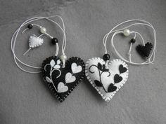 Felt bookmark black white  heart / felt toy/ gift for by Marywool, $11.00