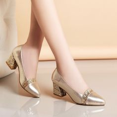 2018 Women Pumps Sweet Style Square High Heel sequins Pointed Toe Spring and Autumn Elegant Shallow Ladies Shoes Size Source by shoes autumn Sexy High Heels, Frauen In High Heels, Platform High Heels, Womens High Heels, Low Heels, Pump Shoes, Women's Pumps, Toe Shoes, Formal Shoes