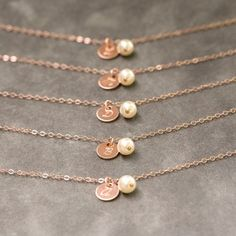 Rose Gold Initial Bracelet Set of 7 Dainty by SprigJewelry on Etsy
