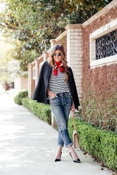 boyfriend jeans, striped tee, red neck scarf