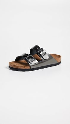 Birkenstock Arizona SFB Sandals | SHOPBOP Stylish Sandals, Flat Sandals, Slide Sandals, Leather Sandals, Birkenstock Sandals, Birkenstock Arizona, Fashion Shoes, Fashion Accessories, Metallic Leather