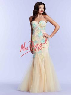 Lemon Yellow Prom Dress with Colorful Lace   Mac Duggal 10055M