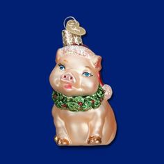 Old World Christmas Holly Pig Ornament #12420