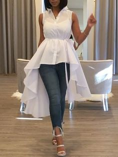 white high low skirt with collar Elegant Dresses, Casual Dresses, Casual Outfits, Fashion Dresses, Trending Clothes For Girls, Trending Outfits, Peplum Top Outfits, Sleeveless Cardigan, Cocktail Gowns
