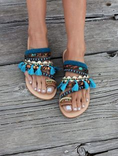 "Greek sandals, Bohemian sandals, Genuine greek leather Sandals ""Yasmine"""