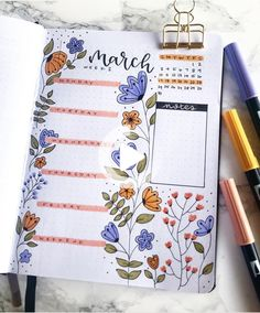 This beautiful March bullet journal is by ig@wildeyesbujo.   bullet journaling inspiration   inspirational bullet journals   spring bujo   March bujo   floral doodles for bullet journals   journaling and scrapbooking #bulletjournal #bulletjournallayout Bullet Journal Inspo, Minimalist Bullet Journal, March Bullet Journal, Bullet Journal Headers, Bullet Journal Notebook, Bullet Journal Aesthetic, Bullet Journal Spread, Bullet Journal Layout Ideas, Bullet Journal School