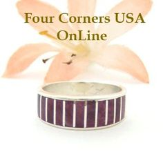 Four Corners USA Online - Size 6 1/2 Purple Spiny Oyster Inlay Band Ring Native American Ella Cowboy Silver Jewelry WB-1495, $121.00 (http://stores.fourcornersusaonline.com/size-6-1-2-purple-spiny-oyster-inlay-band-ring-native-american-ella-cowboy-silver-jewelry-wb-1495/)