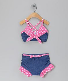 Take a look at this Denim Polka Dot Country Bumkin Bikini - Infant, Toddler & Girls by Frankie & Daisy on #zulily today!