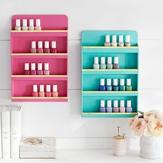 Jane Beauty Collection, Wall Nail Polish Organizer, Gold Trim | PBteen
