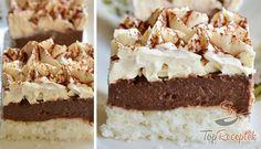 Krémes csokoládés-kókuszos kocka | TopReceptek.hu Cake Cookies, Finger Foods, Vanilla Cake, Tiramisu, Sweet Tooth, Cheesecake, Food And Drink, Cooking Recipes, Baking