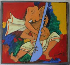 I love to draw many ganesha pictures . I tried this from the above painting of Mr. Indian Paintings, Easy Paintings, Mf Hussain Paintings, Dancing Ganesha, Abstract Face Art, Ganesha Pictures, Indian Artist, Simple Art, Easy Art