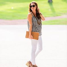 We are talking gingham and white denim on the blog today. P.S. This top is on sale!  Register and like the photo for shopping details! @liketoknow.it www.liketk.it/1DVSp #liketkit #instagood #gingham #ootd by peachesinapod