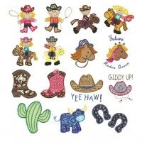 Western cowboy cowgirl boot applique machine embroidery designs