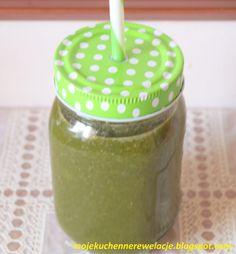 zielony koktajl Spirulina, Caramel Apples, Cantaloupe, Smoothies, Mason Jars, Cocktails, Mugs, Fruit, Tableware