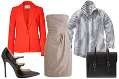 How to wear a basic bridesmaid dress again: Gant Striped Button Down Sam Shirt, $170, available at Gant; Cedric Charlier Neon Orange One Button Blazer, $870, available at Stylebop; Commes Des Garçons Satchel Style Briefcase, $634.91, available at Farfetch; KORS Michael Kors, Abalena Double-Strap Pump, $265, available at Neiman Marcus; J.Crew Selma Dress in Silk Taffeta, prices range from $69.99 to $250, available at J.Crew.