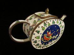 Christmas Copper White Enamel Teapot by designeruniquefinds   #vogueteam #etsygift