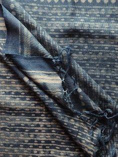 Indigo-Ecru Bagru Printed Tissue Dupatta by Jaypore