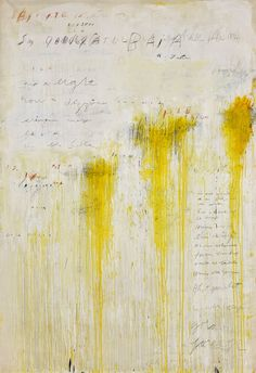 Cy Twombly, Quattro stagioni: estate, Acrylic and graphite on canvas. From Quattro Stagioni (A Painting in Four Parts) (Tate, UK) Cy Twombly Art, Cy Twombly Paintings, Abstract Expressionism, Abstract Art, Modern Art, Contemporary Art, Robert Rauschenberg, Mellow Yellow, Yellow Art