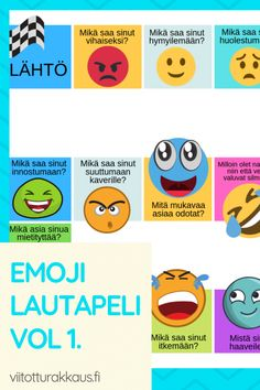 Emoji tunteet lautapeli vol - ViitottuRakkaus. Emoji, Occupational Therapy, Social Skills, First Grade, Kids And Parenting, Kindergarten, Preschool, Classroom, How To Get