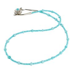 """SLEEPING BEAUTY TURQUOISE NECKLACE BUTTON SHAPE STERLING 17.5"""" from New World Gems"""