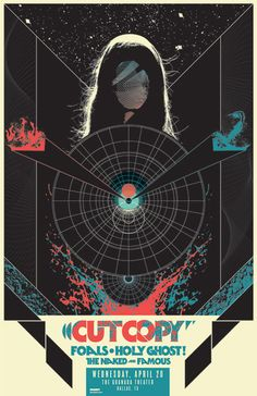 """The first poster I ever made for the Granada Theater in Dallas was for the """"dream bill"""" (to me anyway) of Cut Copy, Foals, The Naked and Famous, and Holy Ghost!.    My initial concept was to riff on the famous Polish poster for Andrei Tarkovsky's Solaris, long one of my favorite pieces of bold graphic design.  A rare case of a poster making me want to see a film straight off. I remember seeing it in a collection of 70s movie posters in the late 90s and thinking """"I have to see whatever this…"""