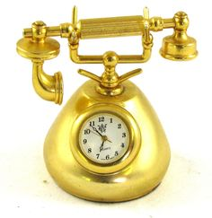 Waterbury? Miniature French-style Telephone CLOCK Desktop Gold/Brass-tone Quartz
