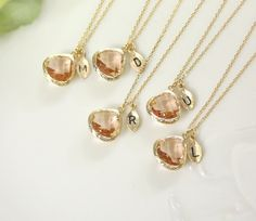 Bridesmaid gifts - Set of  8, 9, 10 -Leaf initial,Champagne pendant necklace, wedding, bridesmaid necklace, Peach necklace, Initia,B0060-G, on Etsy, $132.00