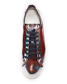 Fendi Runway Men's Brushed Low-Top Sneaker, Red