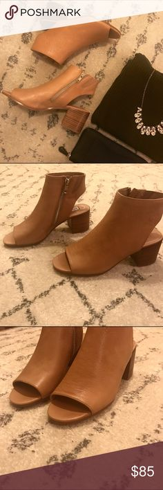 "Steve Madden Peep Toe Bootie Steve Madden's amazing brown leather RICO peep toe bootie with cutout ankles. Heel height is 2.25"" - block heel. Side zipper. Brown leather material. These are so cute! Brand new - never worn before. Steve Madden Shoes Ankle Boots & Booties"