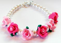 Beautiful Bracelet-Valentines Day-6 Pink and Hot Pink Polymer Clay Roses-White Glass Pearls by rosaliascharm on Etsy