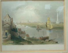 Framed and glazed coloured print entitled, 'Yarmouth, With Nelson's Monument'; the name W.H Bartlett is printed beneath the image; mounted beneath a white card with a gold and black coloured frame, about 1840  Norfolk Museums & Archaeology Service  Yellow slop Great Yarmouth, Norfolk, Archaeology, Museums, Printed, History, Yellow, Frame, Gold